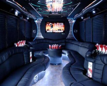 18 people Syracuse party bus interior